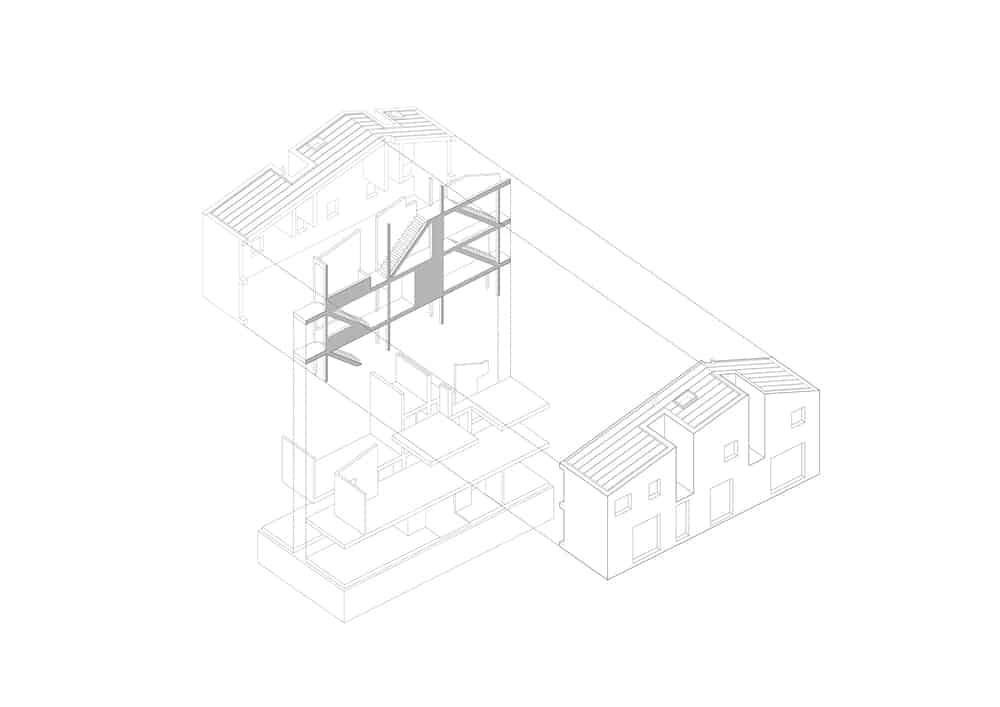 This is an illustrative representation of the exploding axonometric for the house.