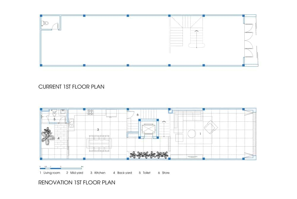 This is a comparison of the previous and current first floor plan.