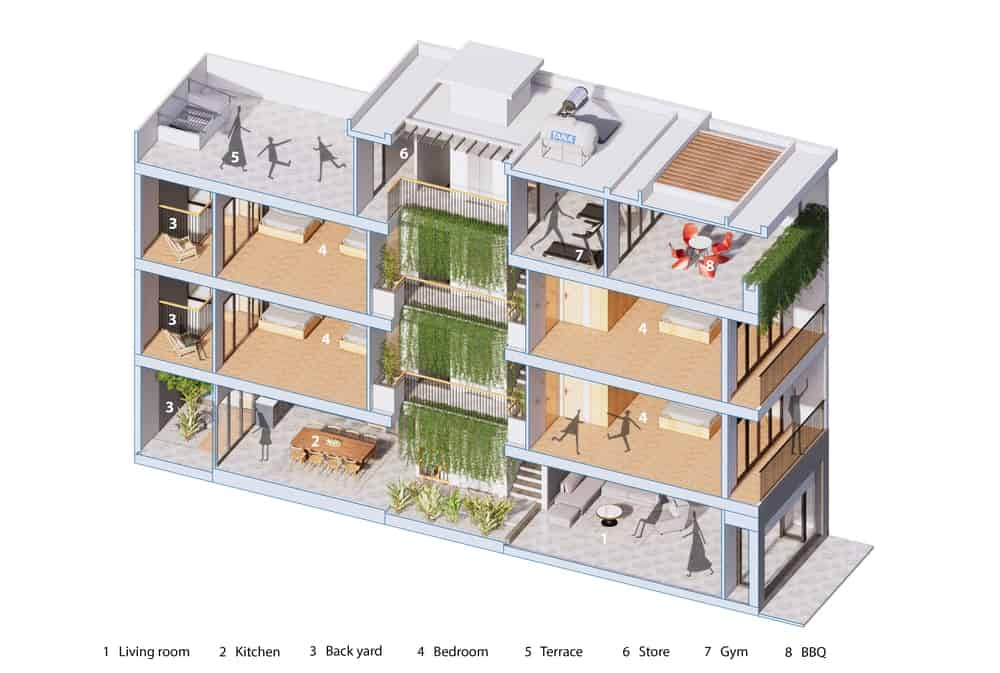 This is a 3D representation of the side elevation of the house showcasing the various sections of the house as well as the flow of movement.