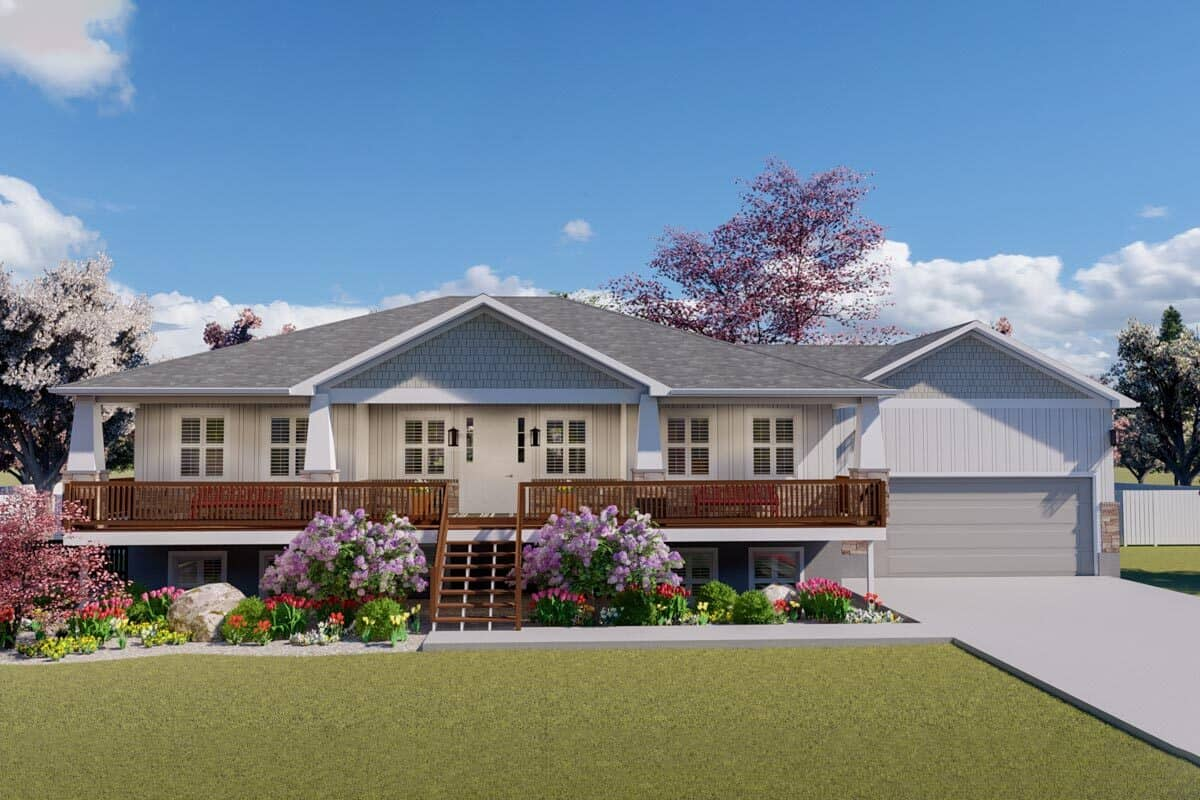 5-Bedroom Single-Story Craftsman Ranch with Double Garage and 3-Bed Apartment