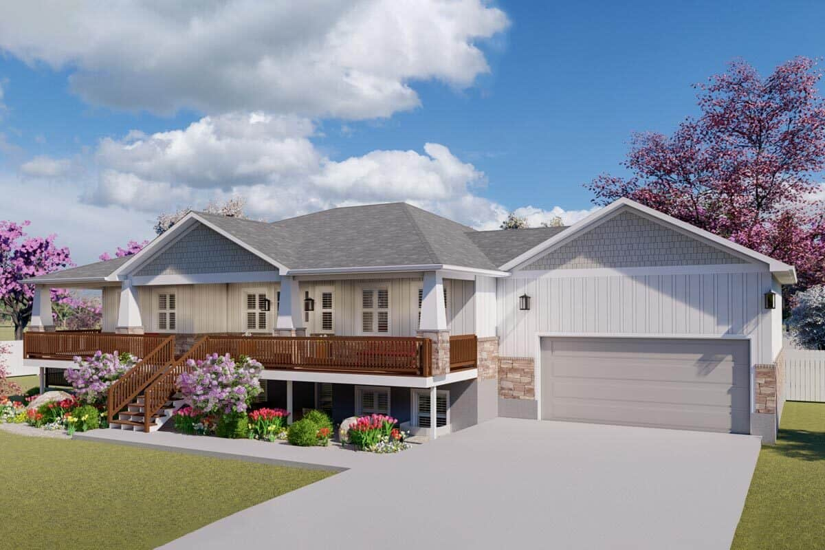 Front exterior view with double garage and a wide covered deck framed with tapered columns and wooden railings.