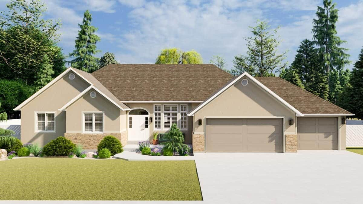 Front rendering of the 5-bedroom single-story mountain ranch.