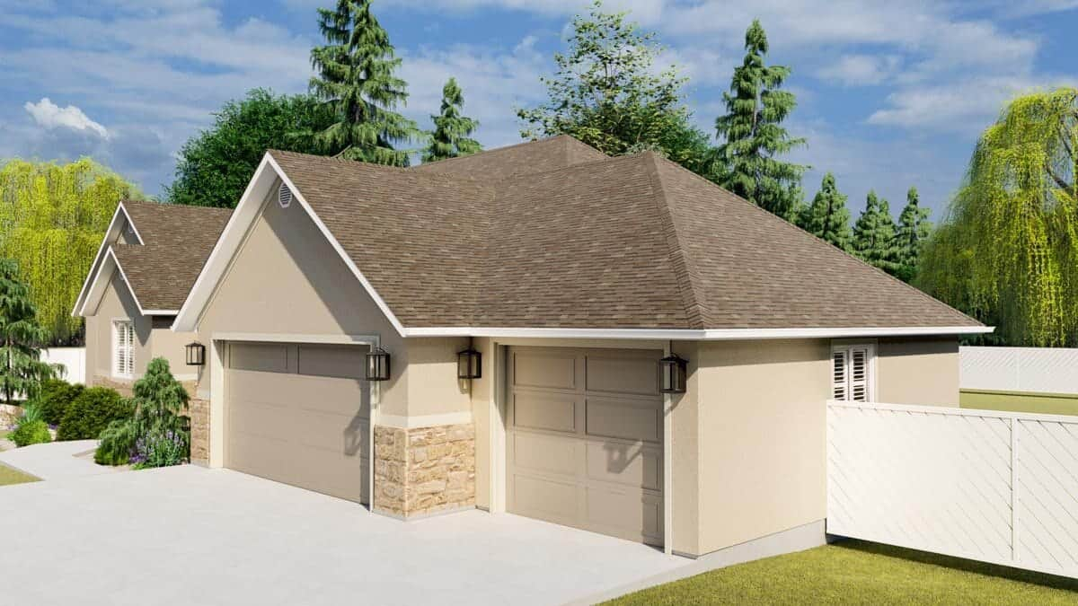 Right rendering of the 5-bedroom single-story mountain ranch.