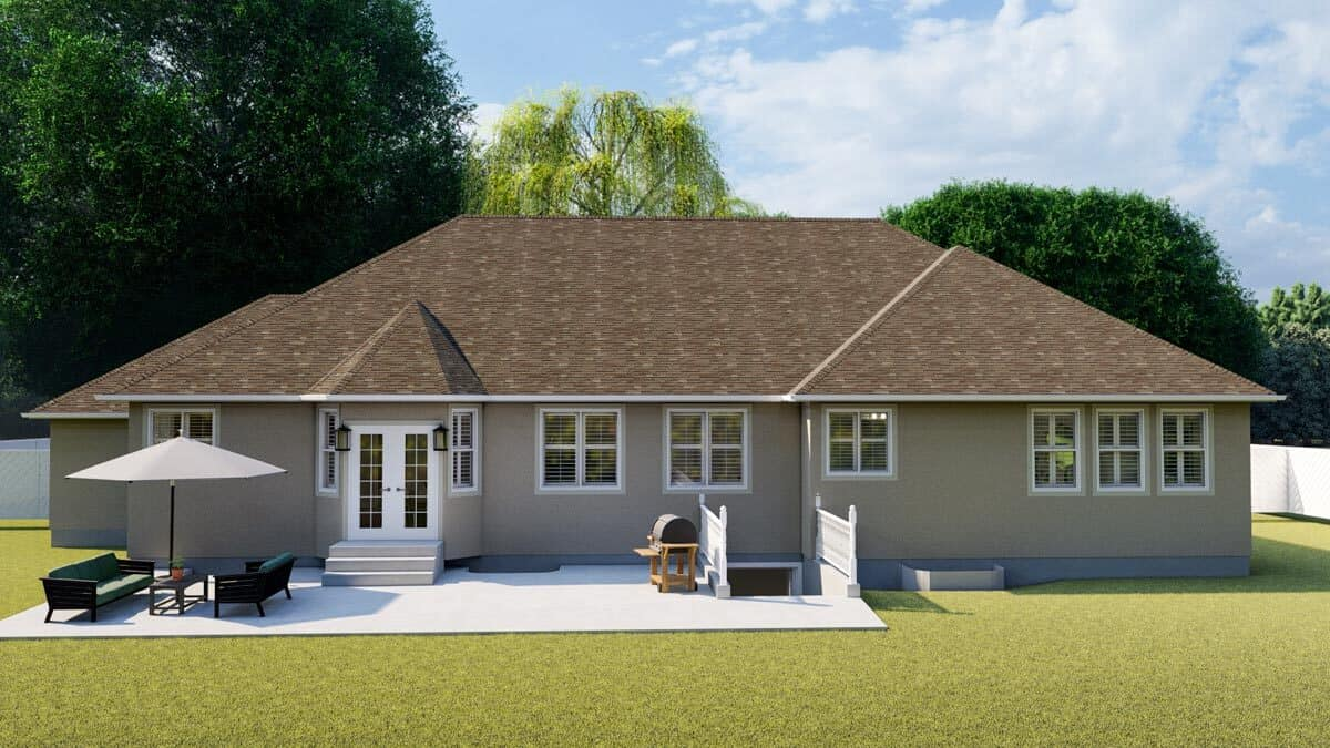Rear rendering of the 5-bedroom single-story mountain ranch.