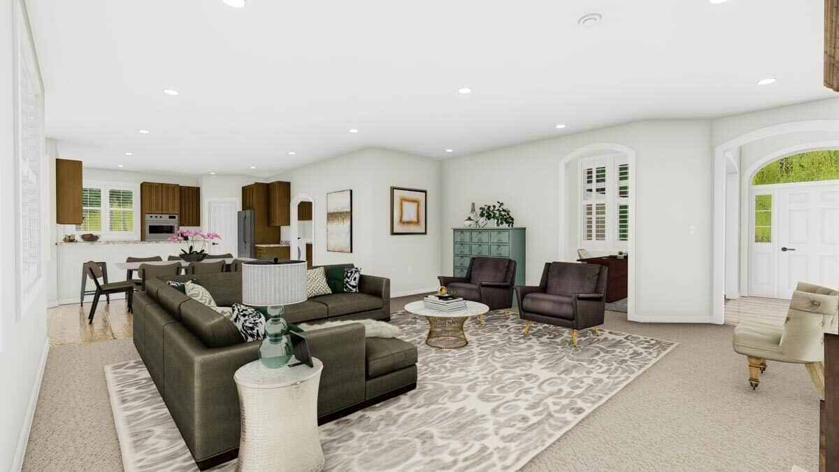 An open layout view showing the foyer, family room, study, dining area, and kitchen.