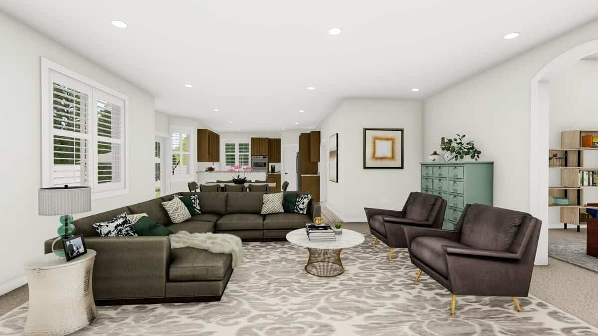 The family room opens completely to the dining area and kitchen. An open archway on the side leads to the study.