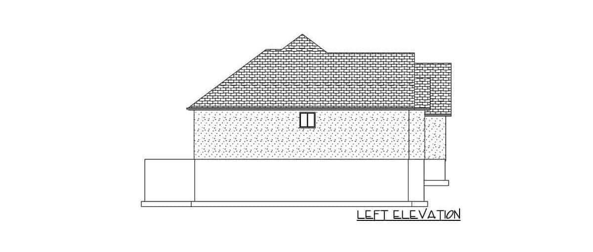Left elevation sketch of the 5-bedroom single-story mountain ranch.