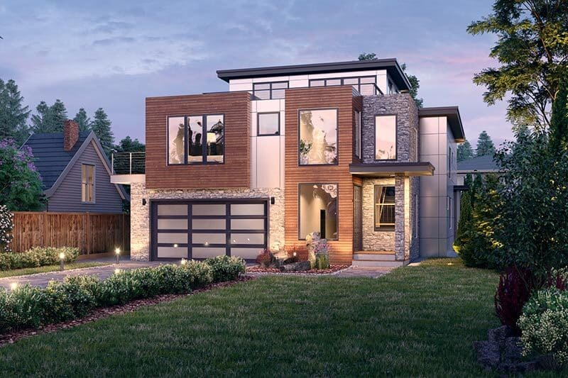 5-Bedroom Three-Story Modern Northwest Home with Balconies and 2-Bed ADU