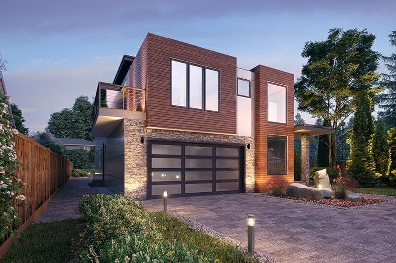 Front rendering of the 5-bedroom three-story modern Northwest home.