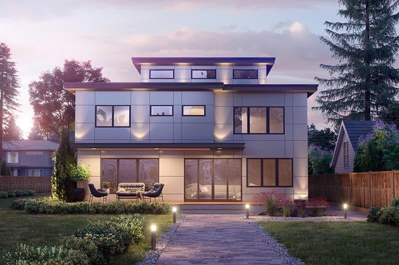Rear rendering of the 5-bedroom three-story modern Northwest home.