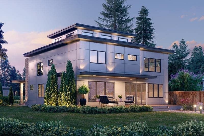 Side rendering of the 5-bedroom three-story modern Northwest home.