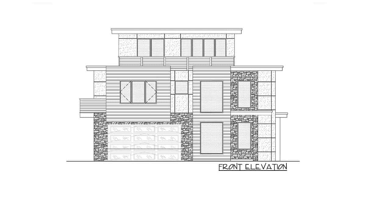 Front elevation sketch of the 5-bedroom three-story modern Northwest home.