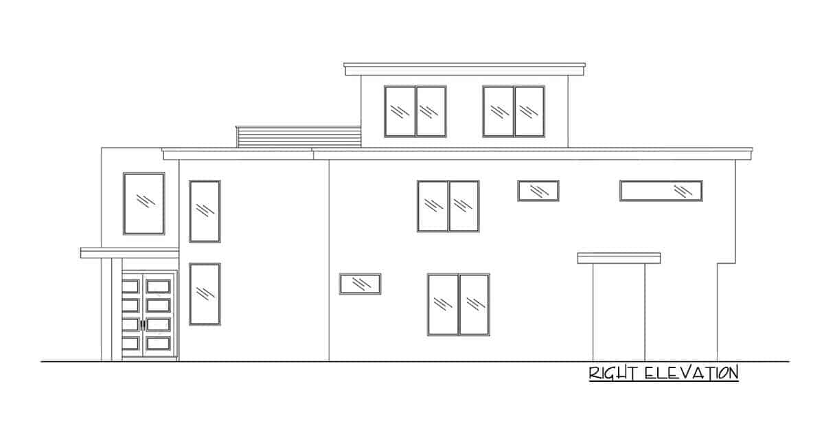 Right elevation sketch of the 5-bedroom three-story modern Northwest home.