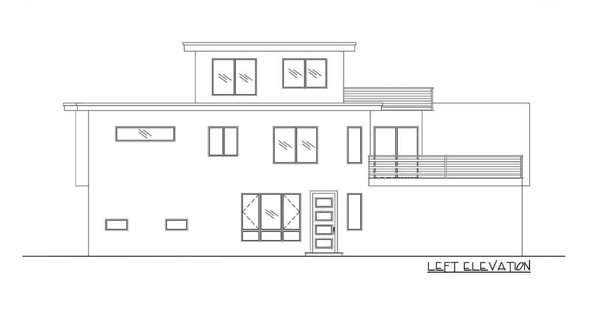 Left elevation sketch of the 5-bedroom three-story modern Northwest home.