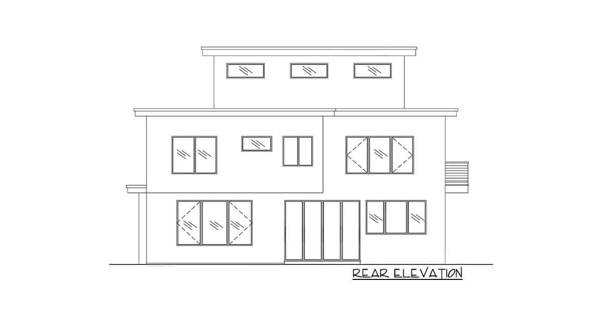 Rear elevation sketch of the 5-bedroom three-story modern Northwest home.