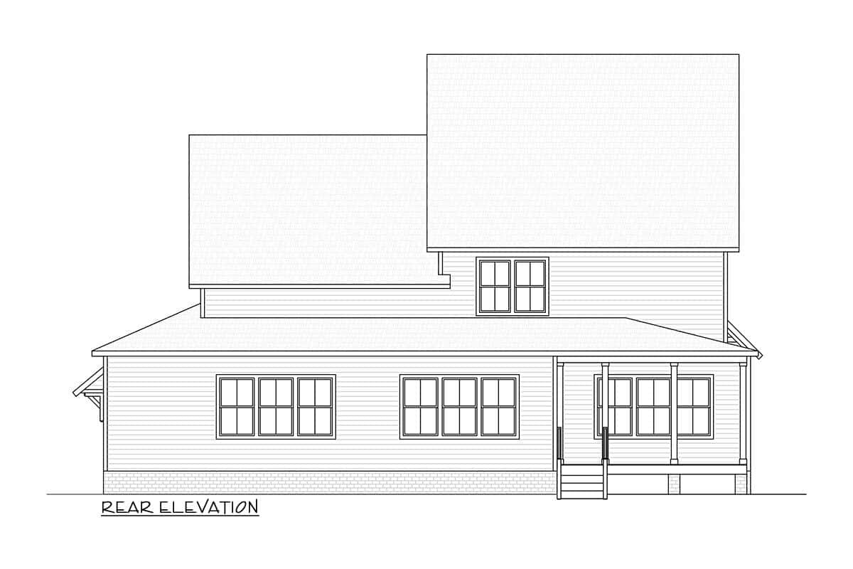 Rear elevation sketch of the 6-bedroom three-story modern country home.