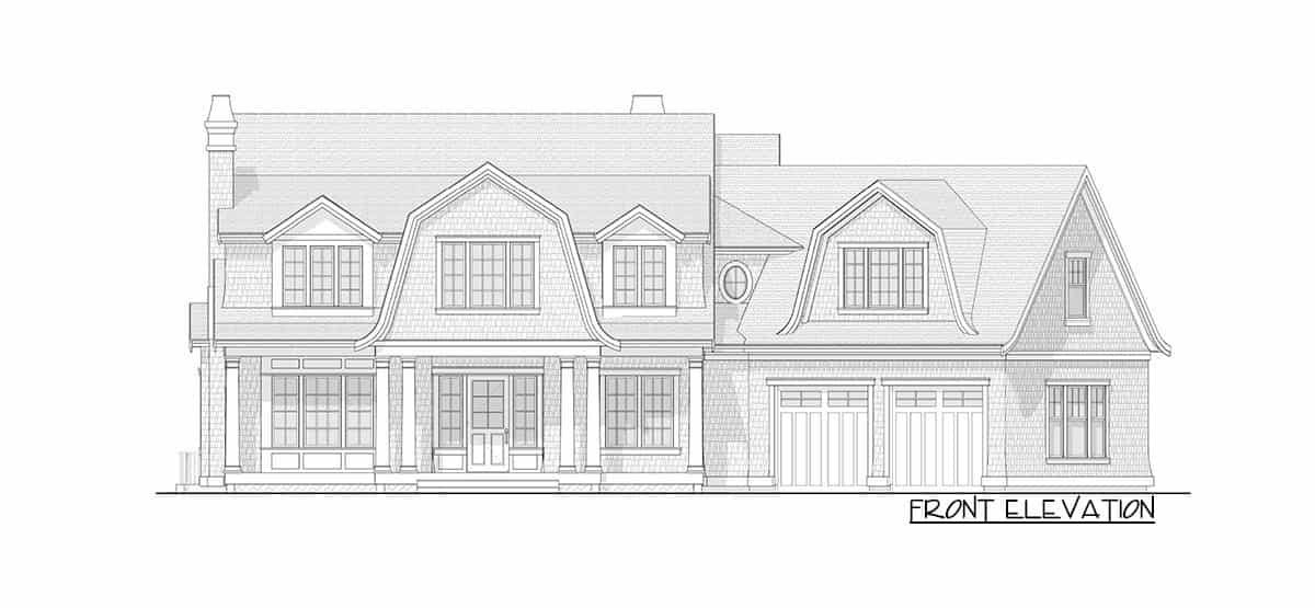 Front elevation sketch of the 7-bedroom two-story Newport-style home.