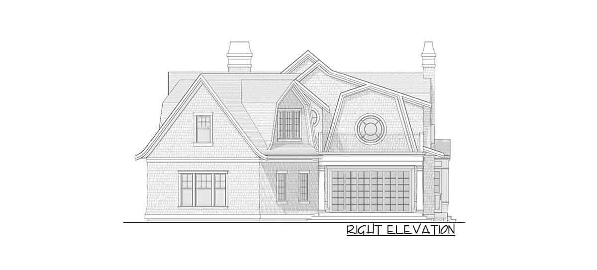 Right elevation sketch of the 7-bedroom two-story Newport-style home.