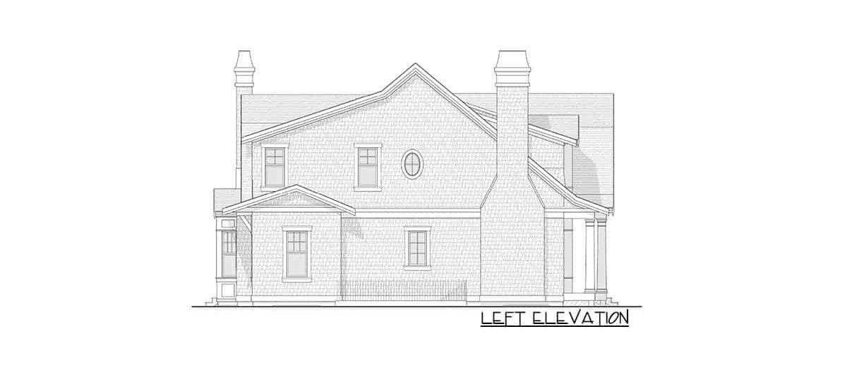 Left elevation sketch of the 7-bedroom two-story Newport-style home.