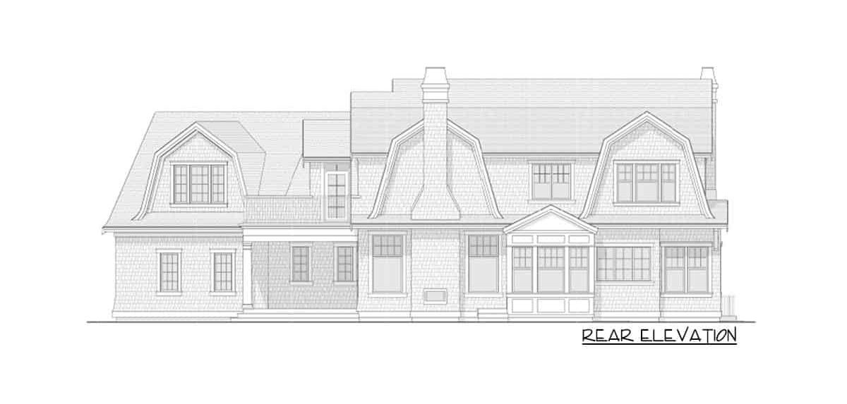 Rear elevation sketch of the 7-bedroom two-story Newport-style home.