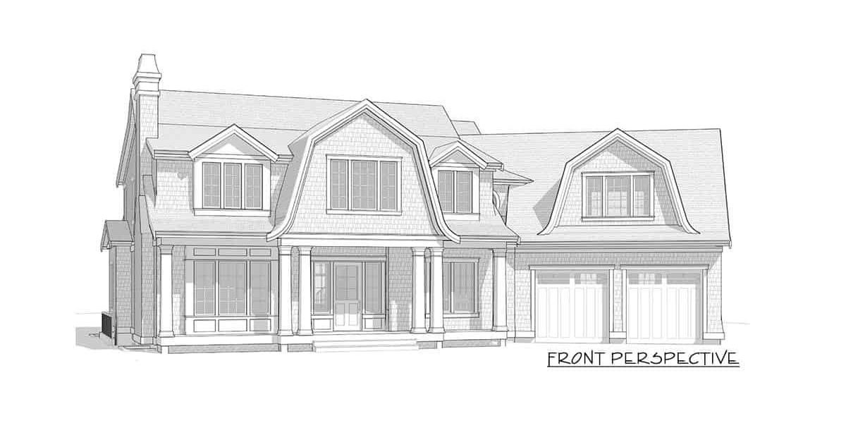Front perspective sketch of the 7-bedroom two-story Newport-style home.