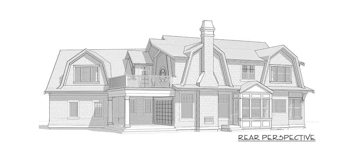 Rear perspective sketch of the 7-bedroom two-story Newport-style home.