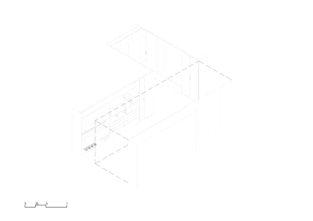 This is an illustrated representation of the walk-in closet with an outline for a wall.