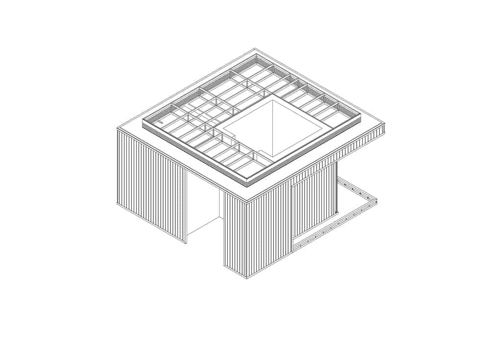This is an illustration of a section of the house in various states of construction.