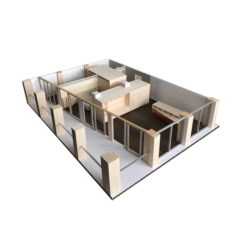 This is a 3D representation of the whole apartment showcasing the various areas of the house.