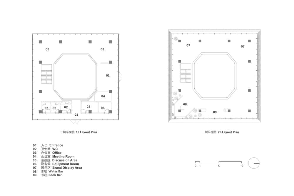This is an illustration of the floor plan of the building floors with labels on the sections.
