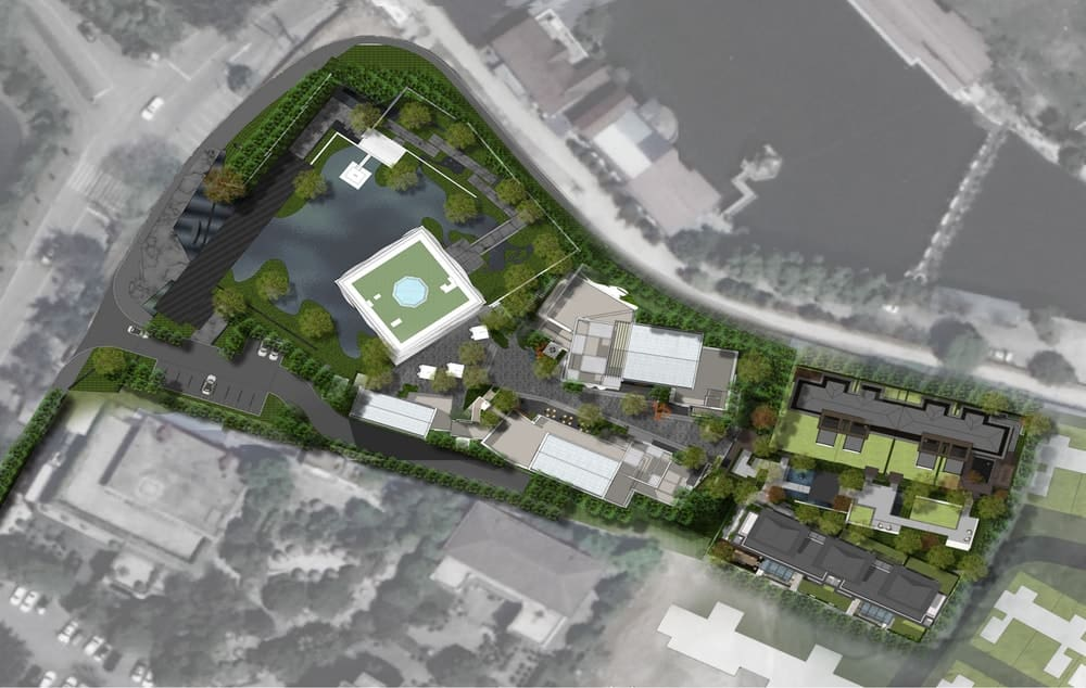 This is a 3D illustration of the aerial view of the building and its property.