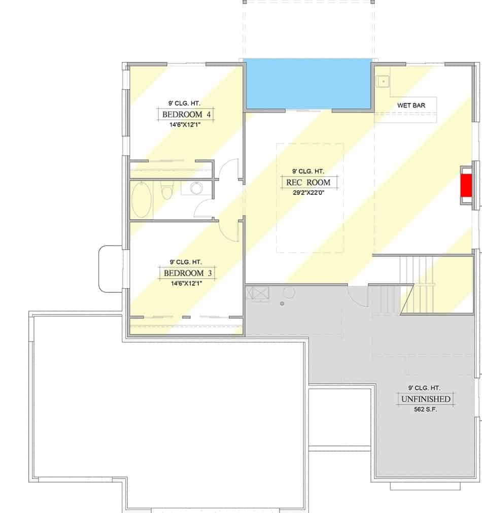 Lower level floor plan with two bedrooms and an enormous recreation room with a wet bar.
