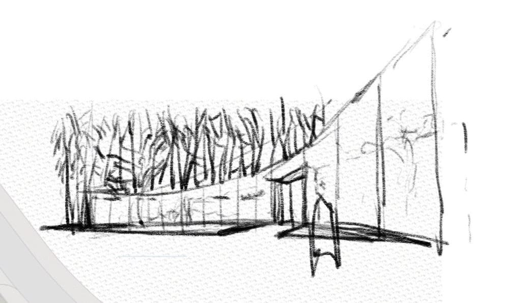 This is an illustration of one of the buildings of the property with a curved design.