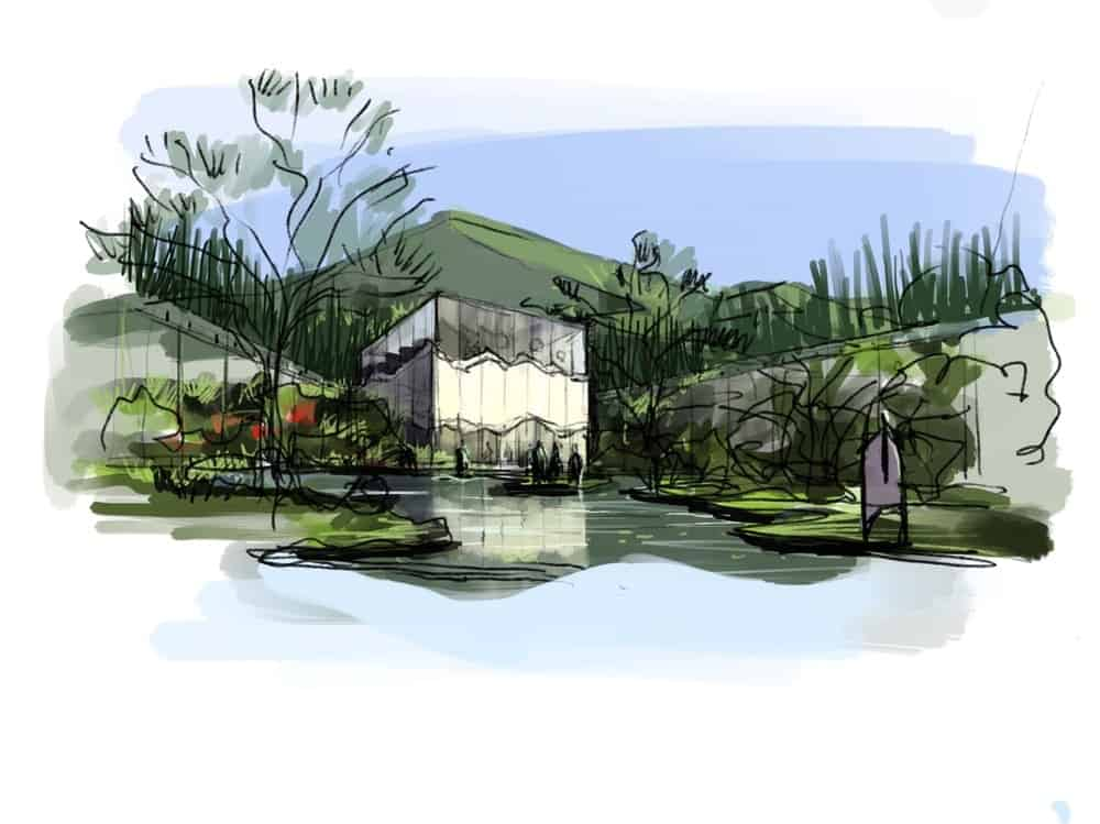 This is an illustration of one of the buildings of the property. showcasing the cuboid glass building surrounded by gardens.
