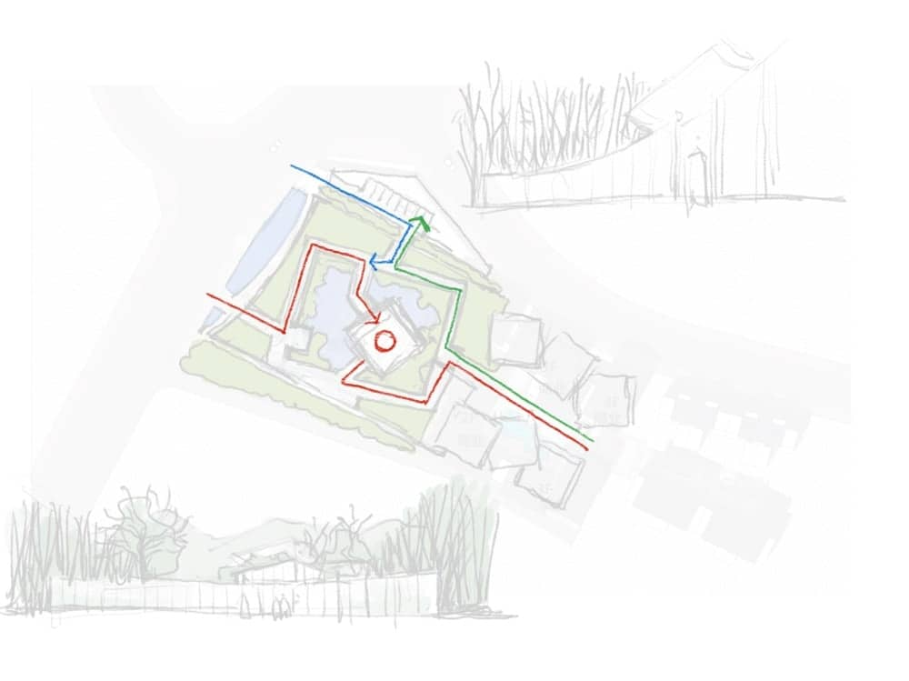 This is an illustration of one of the property area showcasing the points of entry and exit for the glass building.