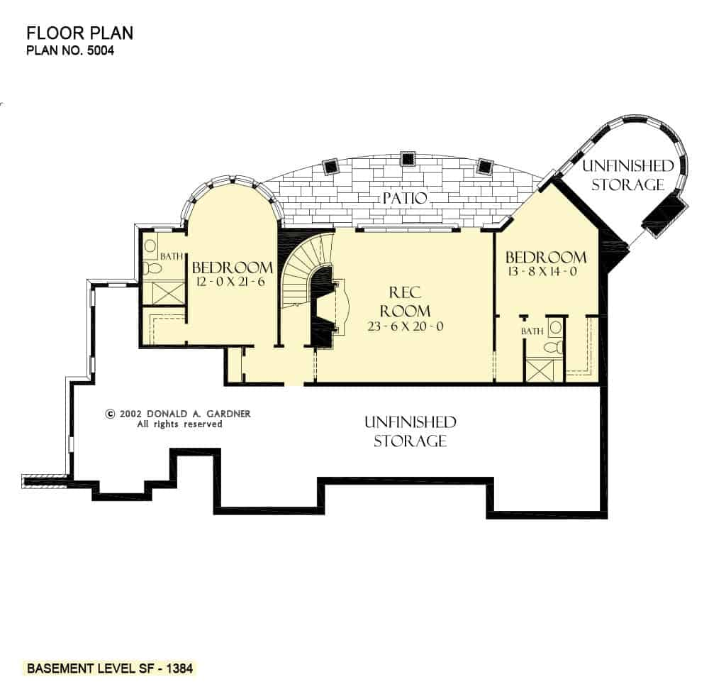 Lower level floor plan with two bedrooms, a recreation room, and plenty of storage space.