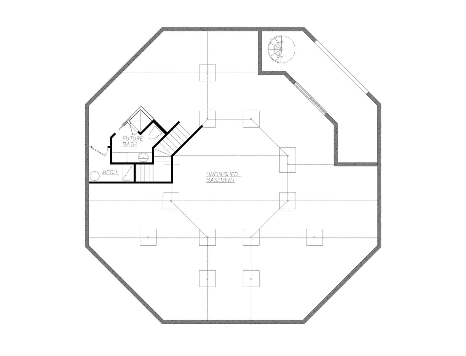 Basement floor plan with future bath, mechanical room, and unfinished spaces.