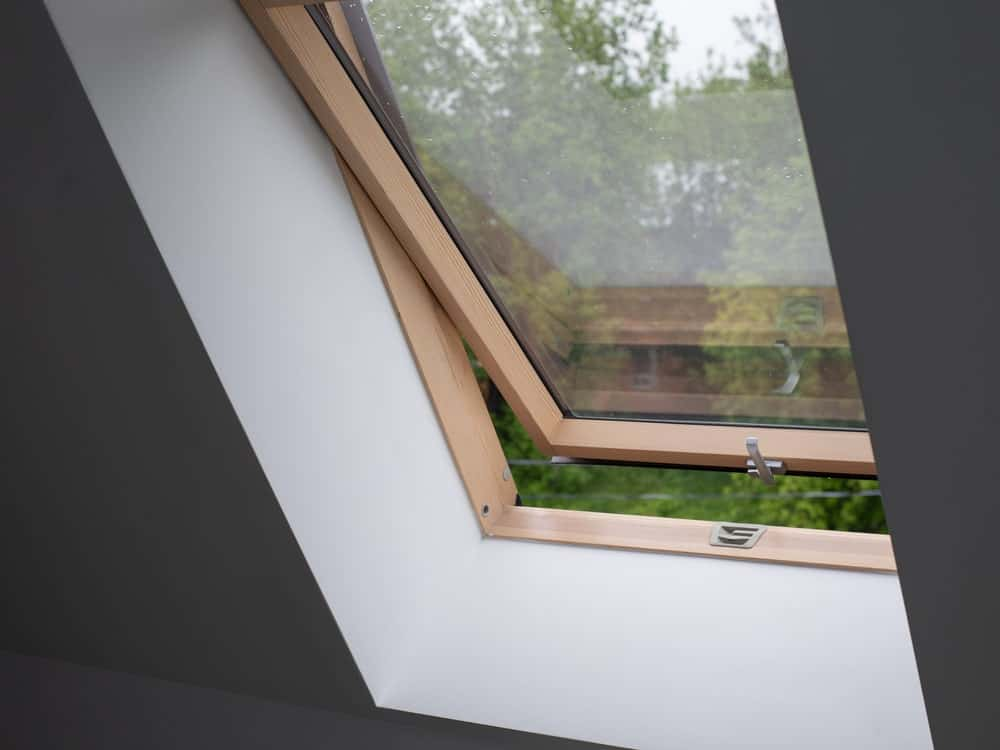This is a close look at a casement window at the attic.