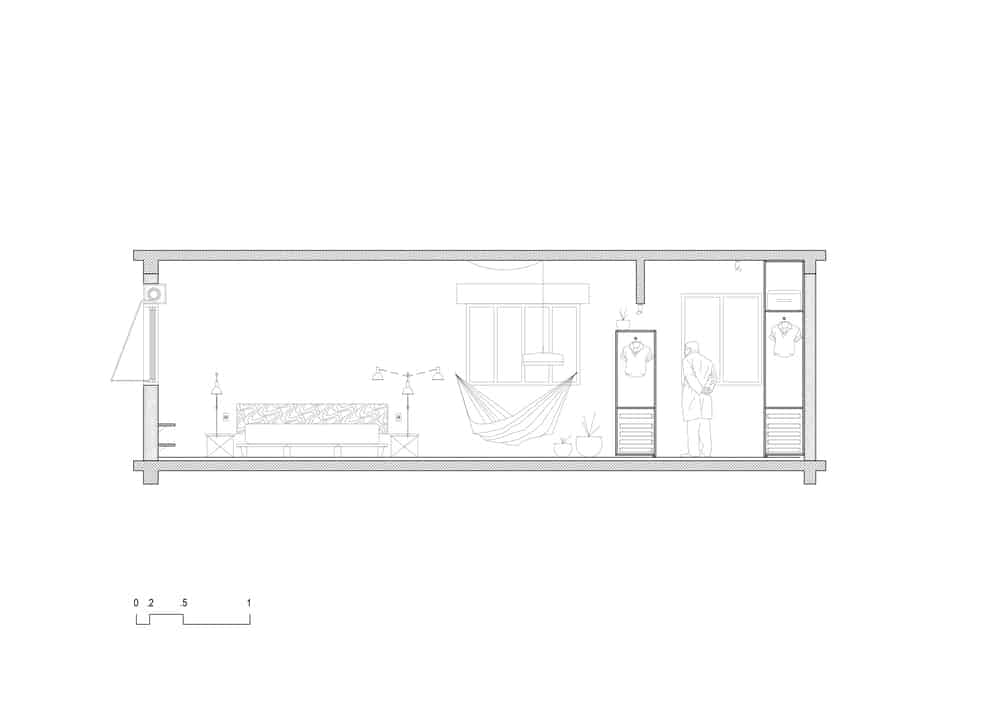 This is an illustrative representation of the bedroom showcasing the bed area and closet area.