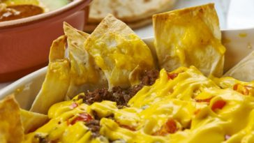A close look at a cheesy Texmex cowboy casserole.