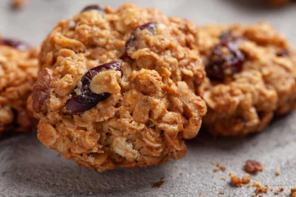 A close look at cranberry pecan oatmeal cookies.