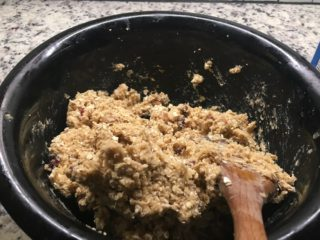 The oatmeal is added into the mixture.