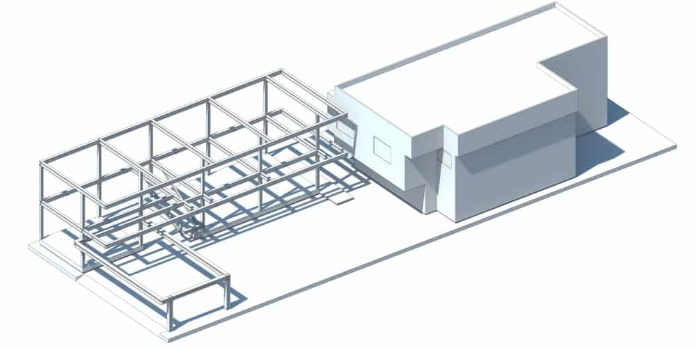 This is a 3D illustration of the additional construction showcasing the metal frames.