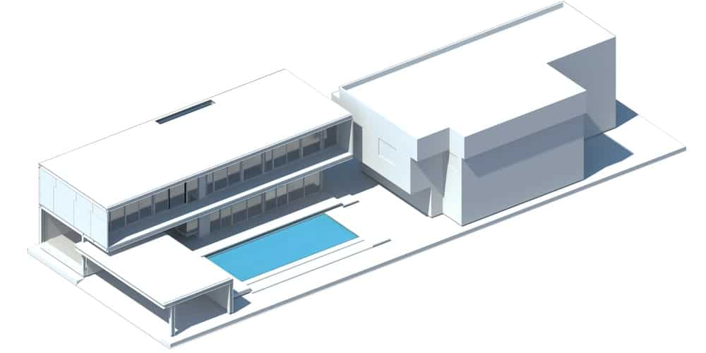 This is a 3D illustration of the additional construction with the walls and the pool added.