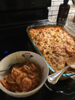 A freshly-baked batch of cheesy tortellini.