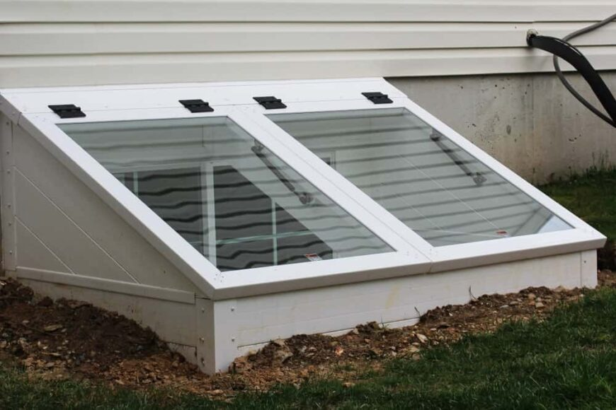 This is a close look at the egress window of a house.