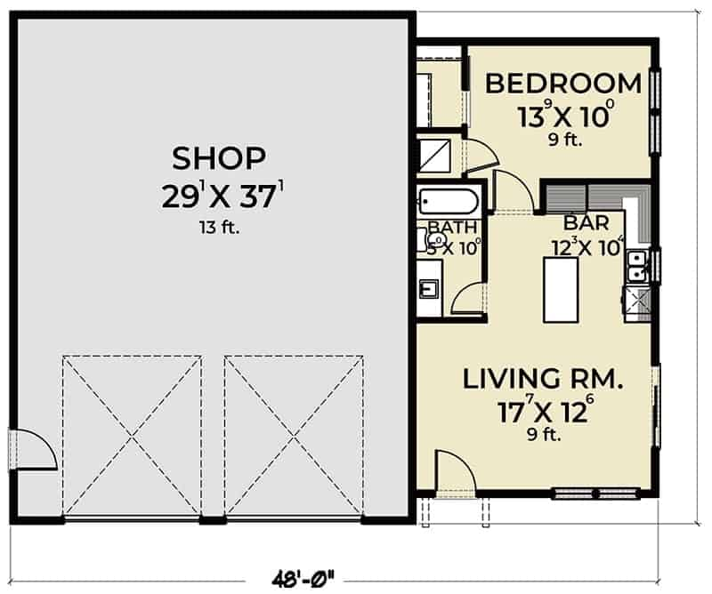 Entire floor plan of a 1-bedroom single-story country farmhouse with living room, kitchen, a full bath, a bedroom, and an oversized garage.