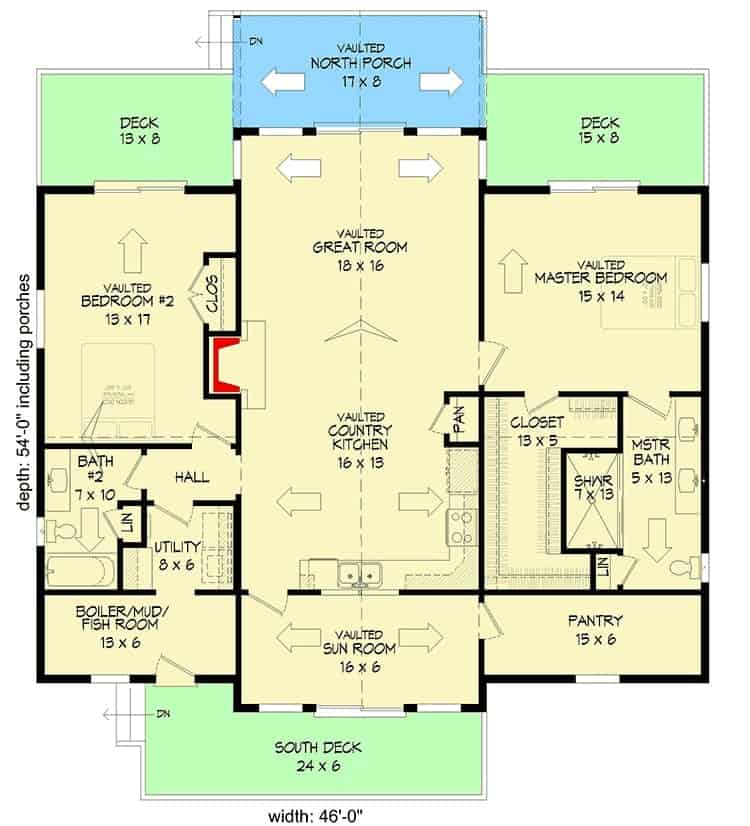 Entire floor plan of a 2-bedroom single-story mountain ranch with south deck, sunroom, kitchen, great room, mudroom, utility room, two bedrooms, and vaulted north porch.