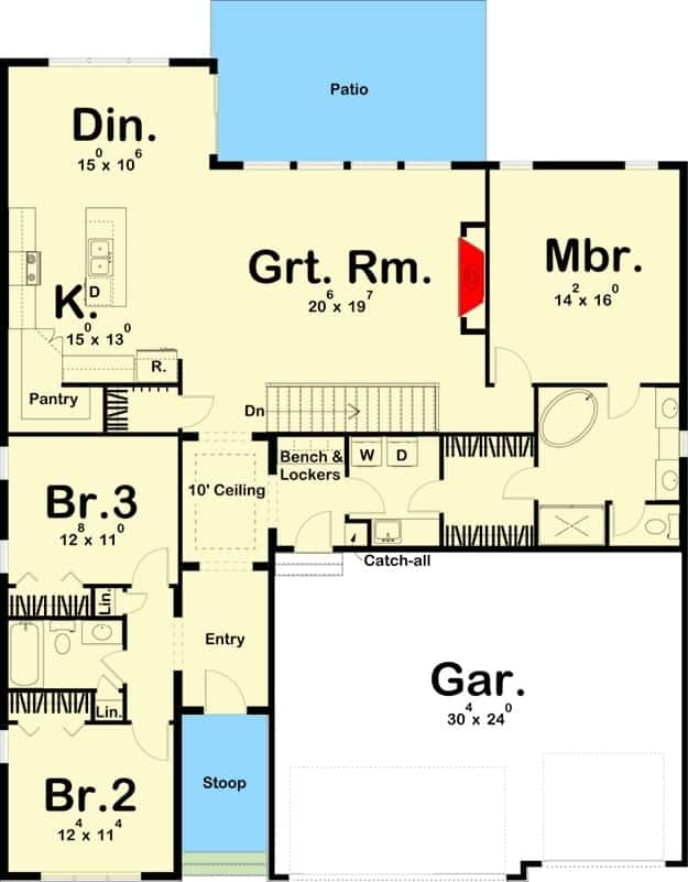 Entire floor plan of a 3-bedroom single-story modern prairie-style home with foyer, great room, dining area, kitchen, three bedrooms, laundry room, and a mudroom leading to the 3-car garage.