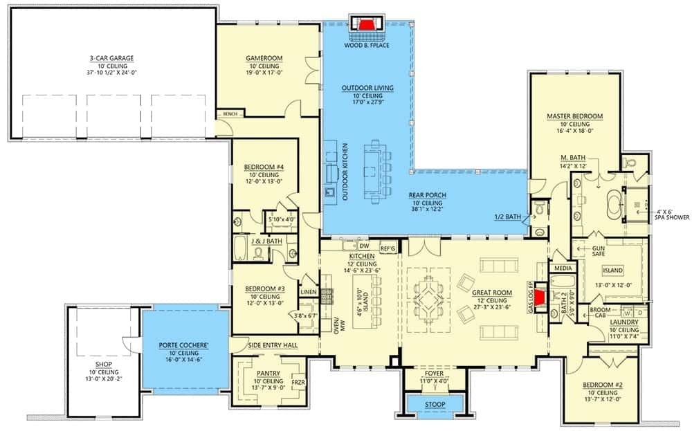 Entire floor plan of a 4-bedroom single-story Acadian ranch with foyer, great room, kitchen, dining area, bedrooms, game room, and a wraparound porch.